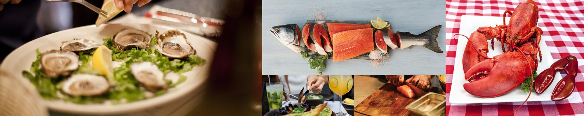 piatti tipici della cucina canadese: aragoste, salmone, ostriche