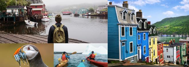 iceberg, case colorate sulla penisola di avalon e più a New Foundland and Labrador