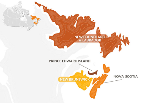 Province di Nova Scotia, Newfoundland and Labrador, Prince Edward Island e New Brunswick