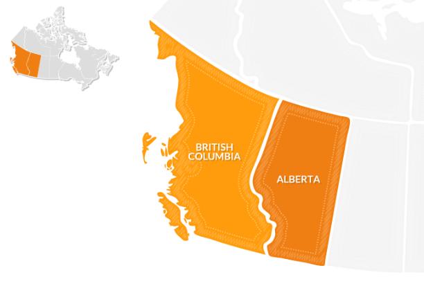 Le province canadesi British Columbia e Alberta