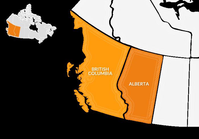mappa Canada Ovest