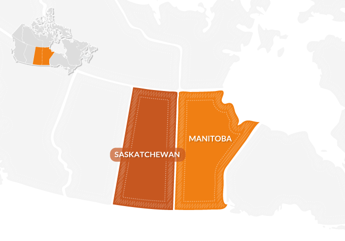 mappa praterie canadesi