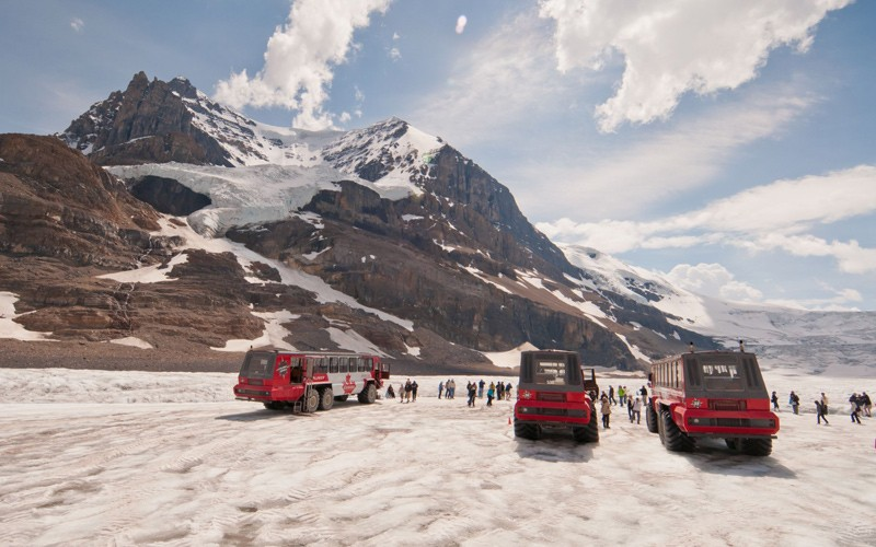 sali su uno snowcoach dalle enormi ruote e vai direttamente sul ghiacciaio!