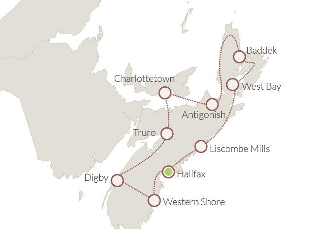 Itinerario del tour Nuova Scozia e PEI